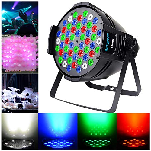 BETOPPER Par Lights 54X3W LED DJ PAR Stage Light RGBW 162Watt DMX 512 Stage Lighting Disco Projector for Home Wedding Party Church Concert Dance Floor Lighting
