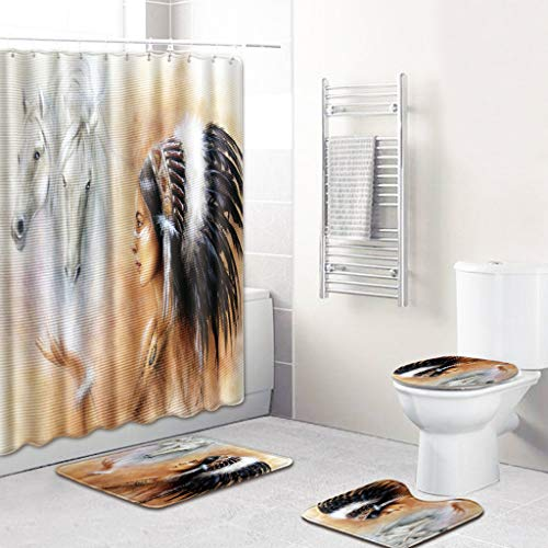 4PCS Shower Curtain Set, Jessie storee African Female European American Style Bathroom Mat Dry Wet Separation Toilet Pad Cover Bath Mat Seat Cover Rug Water-Proof Rustproof, 18 x 30 inch, - Eagle Goods Mosaic Dry