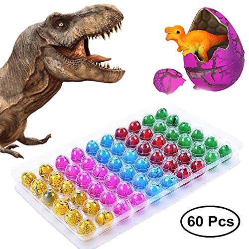 Surprise Dinosaur Eggs Party Favors - 60 PcsEaster Dinosaur Eggs That Hatch in Water, Dinosaur Birthday Party Supplies forKids, Novelty Dinosaur -