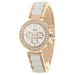 Womens Wristwatch Gold tone Metal White Ceramic Mixed Band Sub Dial Decorated Fashion Watch