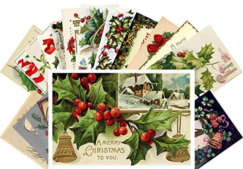 Vintage Christmas Greeting Cards 24pcs Antique Christmas Tree Decorations Ornaments Reprint Postcard Set