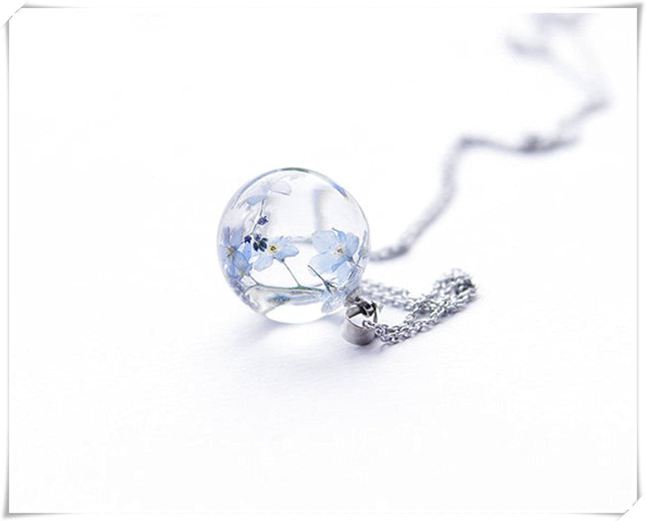 Elegant Tiny Flower Necklace Cute Silver Chain Aqua Cube Tiny Dried Flowers Simple Best Friend Gift Idea Light Dark Blue