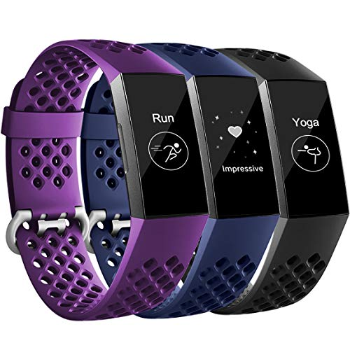Maledan Bands Compatible with Fitbit Charge 3, Replacement Accessories Breathable Sport Band Wristbands with Air Holes for Charge 3 and Charge 3 SE, 3 Pack, Black/Navy Blue/Plum, Large