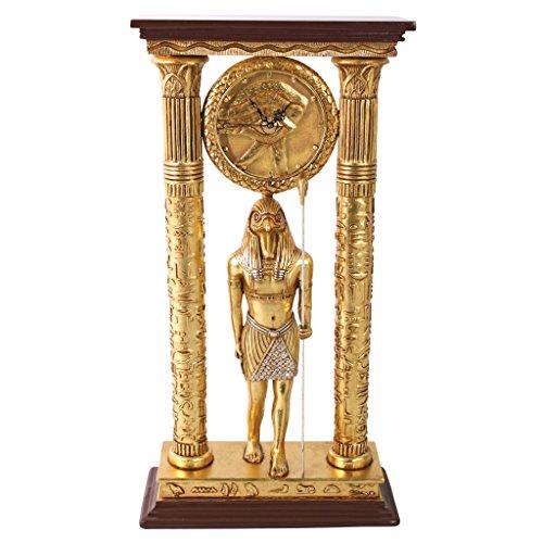 - Design Toscano Temple of Amun Egyptian God Horus Desk Mantel Clock Statue, 3 Feet, Gold and Silver Leaf