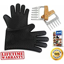 BEAR CLAWS - BBQ Pulled Pork Meat Shredder for Shredding and Lifting, Strongest Wooden Handle Stainless Steel Tool Forks + Premium Black Heat Resistant Cooking Gloves BPA Free + Ebook (5pc Set)