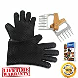 claws meat shredder - BEAR CLAWS - BBQ Pulled Pork Meat Shredder for Shredding and Lifting, Strongest Wooden Handle Stainless Steel Tool Forks + Premium Black Heat Resistant Cooking Gloves BPA Free + Ebook (5pc Set)