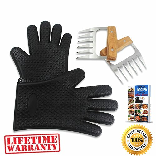 BEAR CLAWS - BBQ Pulled Pork Metal Meat Shredder for Shredding and Lifting, Strongest Wooden Handle Stainless Steel Handling Forks + Premium Black Heat Resistant Cooking Gloves + Ebook (5pc Set)