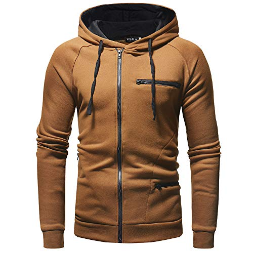 Sunhusing Autumn Winter Fashion Men's Hooded Solid Color Turtleneck Sweatshirt Outwear