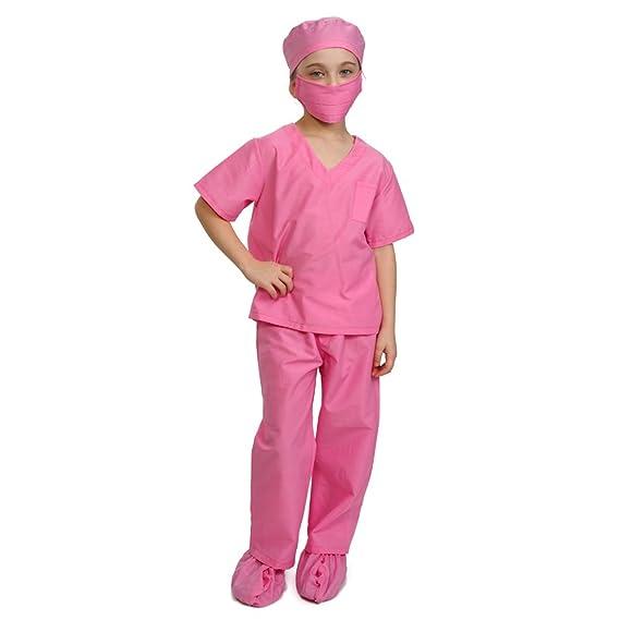 Dress up America rosa niños médico Scrubs disfraz niños Pretend del doctor Scrub Play Outfit: Amazon.es: Juguetes y juegos