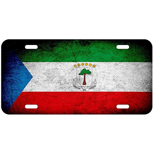 Flag of Equatorial Guinea (Guinean) - Rustic Custom Personalized Aluminum Front License Plates, Decorative Car Metal Tag Sign for US Vehicles, 12 x 13 Inch ()