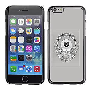 GOODTHINGS Funda Imagen Diseño Carcasa Tapa Trasera Negro Cover Skin Case para Apple Iphone 6 - magia 8 cráneo casino de juego gris