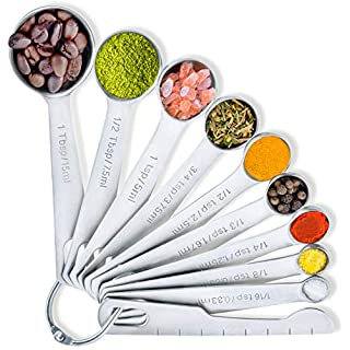 BALCI - Measuring Spoons 18/8 Stainless Steel (Set of 10) for Dry and Liquid Ingredients