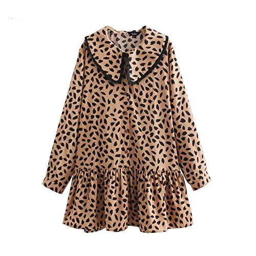 (Sweet Leopard Mini Dress Ruffles Animal Pattern Peter Pan Collar Preppy Style Long Sleeve Loose Dresses Vestidos QB098)