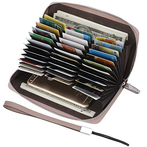 Credit Card Wallet - Lavemi Womens RFID Blocking Genuine Leather Zip Around Credit Card Wallet Holder,Large Capacity(Dark Pink)