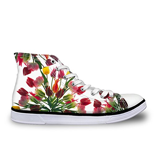 Lace Floral Sneakers up Top Shoes U Ankle FOR DESIGNS High Flowers Tropical Design Canvas Women Owvxp8TU