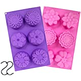 JUSLIN 2 PCS 6 Cavity Assorted Silicone Flower Soap Mold DIY Soap Mold Handmade Chocolate Biscuit Cake Muffine Silicone Mold, with 2 S Hooks as Gift