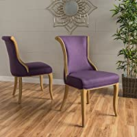 Luther Plum Fabric Dining Chair (Set of 2)
