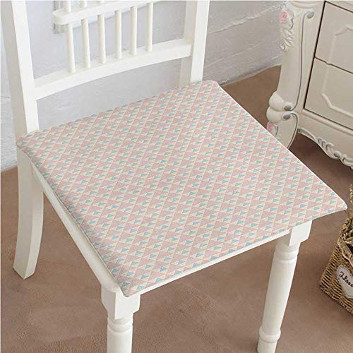 Mikihome Premium Comfort Seat Cushion Big Little Triangles Squares Retro Geometric Checked Pattern Light Pink Peach Light Blue Cushion for Office Chair Car Seat Cushion 32