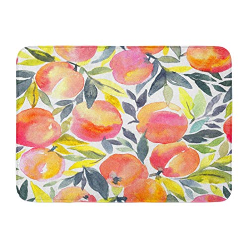 Emvency Doormats Bath Rugs Outdoor/Indoor Door Mat Colorful Peach Bright Hand Watercolor Peaches Fruit Orange Pattern Apricot Bathroom Decor Rug Bath Mat 16
