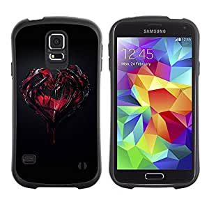 Hybrid Anti-Shock Bumper Case for Samsung Galaxy S5 / Goth Dark Heart & Blood