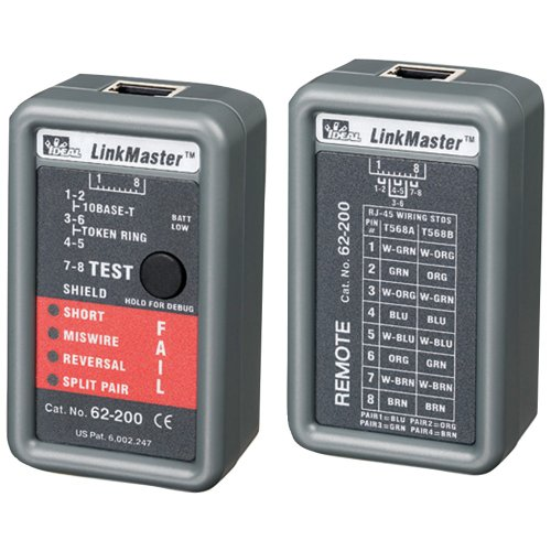 (1 - LinkMaster(TM) Ethernet Tester, Tests wiring configurations on UTP & STP, Checks for shorts, miswires, reversals & split pairs, 62-200)