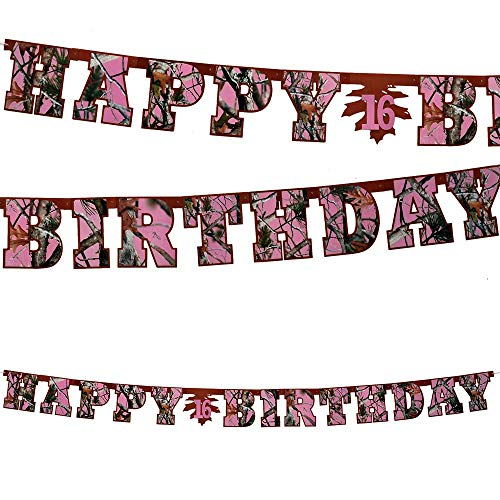 Pink Camo Happy Birthday Banner (Large, 7 Cardboard Cutout letters, Birthday Numbers included) Pink Camo Collection by Havercamp