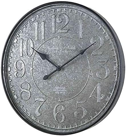 Sterling Noble Farmhouse Collection Blacksmith Galvanized Wall Clock In Grey Home Kitchen