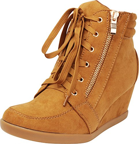 - Cambridge Select Women's Zipper Lace Up Wedge Heel Fashion Sneaker (7 B(M) US, Tan)
