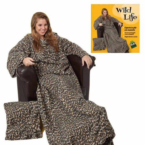 Coperta Con Le Maniche Leopardata.Coperta In Pile Con Maniche Wild Life Idea Regalo Amazon It Casa E