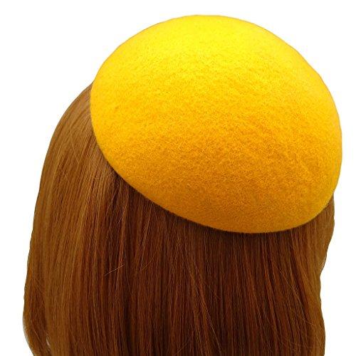 HATsanity Women's Vendimia Textura de lana Llanura Mini Boina Estilo Fascinador amarillo