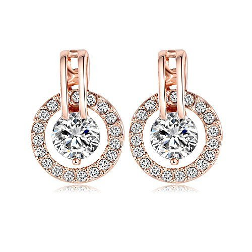 NYKKOLA 18k Rose Gold Plated Circle Halo Stud Earring with Swarovski Crystal Valentine