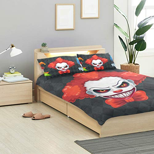 KVMV Creepy Clown Faces Set Spooky Halloween Duvet Cover Set Design Bedding Decoration Twin XL 3 PC Sets 1 Duvets Covers with 2 Pillowcase Microfiber Bedding Set Bedroom Decor Accessories]()