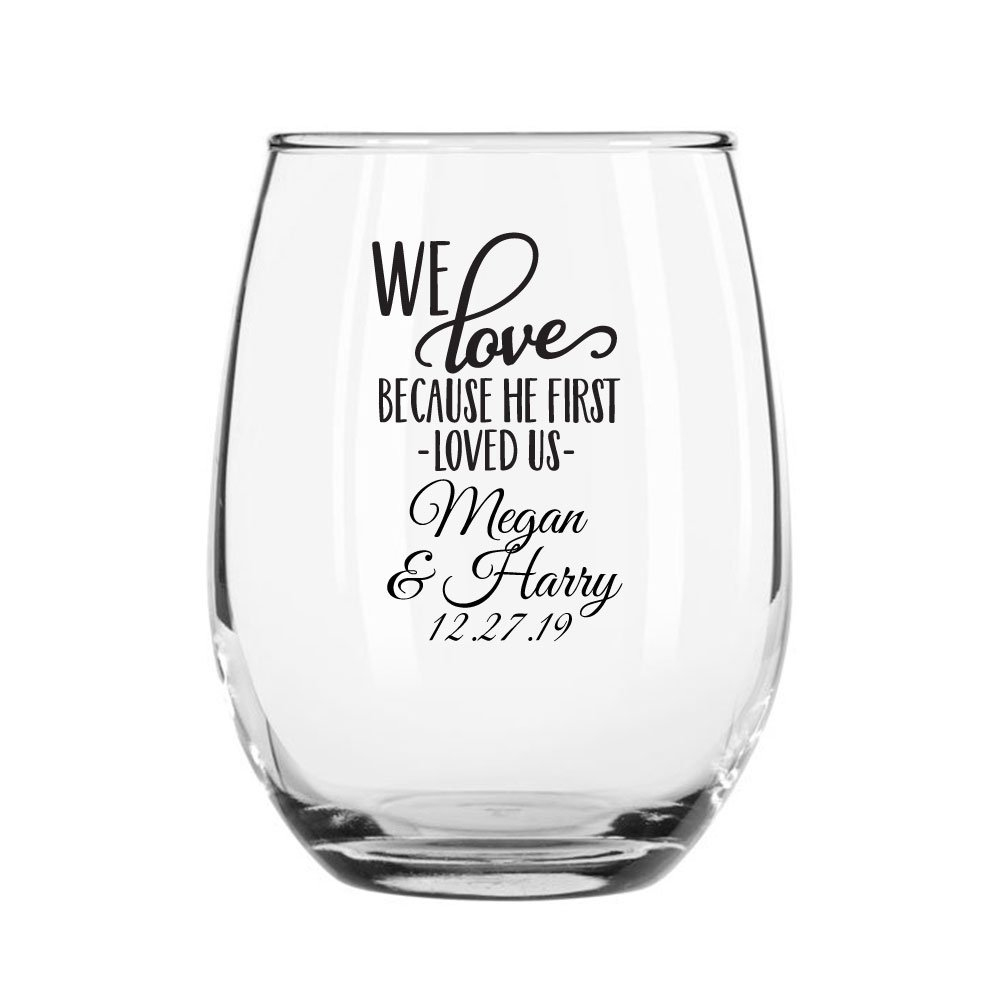 144 Pack Personalized Color Printed 9 Ounce Stemless Wine Glass - We Love Because He First Loved Us - Black