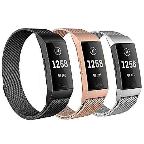 Milanese Bands for Fitbit Charge 3, SailFar 3PCS Magnetic Clasp Mesh Loop Milanese Stainless Steel Metal Bracelet Strap/Watch Band for Fitbit Charge 3,Small/Large, Men/Women, Large, 3pcs