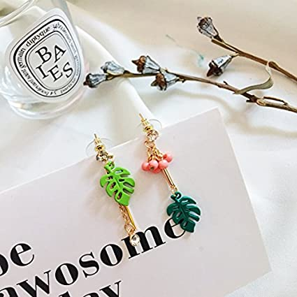 d15c9e4ad Image Unavailable. Image not available for. Color: The new South Korean cute  little fresh asymmetrical leaf diamond earrings hypoallergenic ...