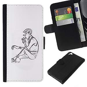 Be-Star la tarjeta de Crédito Slots PU Funda de cuero Monedero caso cubierta de piel Para HTC Desire 820 ( Man Profile Smoke Pipe Lonely Drawing Art )