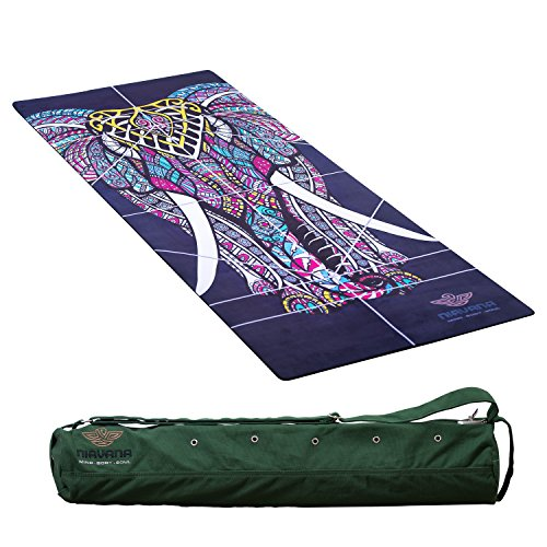 NIRVANA Pro YOGA MAT Large Yoga Mat  Thick Yoga Mat Non Slip Yoga Mat Natural Rubber Yoga Mat Beautiful Design Eco Friendly Yoga Mat Non Toxic Yoga Mat Towel Combo comes with a Yoga Bag.