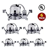 Bybon 6'' Aluminum Recessed Lighting LED TP24 New Construction ICAT Housing-Pack of 6 (UL Listed)
