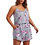 HUHHRRY Women Plus Size Sleeveless Bodysuit Big Size Floral Evening Party Dress Jumpsuit Romper