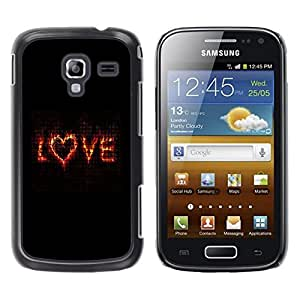 Be Good Phone Accessory // Dura Cáscara cubierta Protectora Caso Carcasa Funda de Protección para Samsung Galaxy Ace 2 I8160 Ace II X S7560M // Love Flaming Heart Black Text Valentin