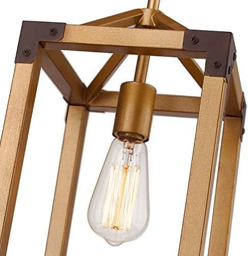 Zeyu 1-Light Pendant Lighting, Metal Cage Hanging Light Fixture in Antique Gold Finish, 101-1 AG