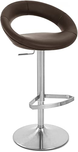 Zuri Furniture Brown Crescent Adjustable Height Swivel Armless Bar Stool