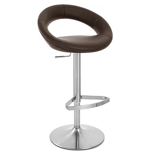Zuri Furniture Brown Crescent Adjustable Height Swivel Armless Bar Stool
