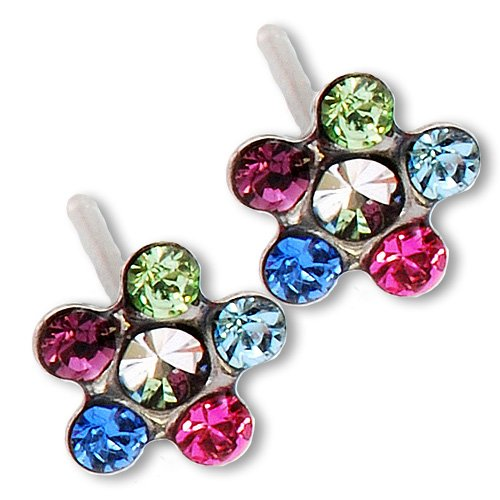 Ear Piercing Earrings Bright Rainbow Daisy Flower Silver Studs Studex System 75 -