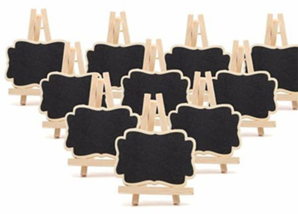 gespout Mini legno lavagna Wordpad Mini Lavagna decorativo lavagna memo rettangolare Messaggio Board per disegno Party e cucina tavola Natale festa di nozze con cavalletto 10PZ, nero, 7x9x1.2cm