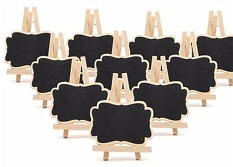 Mini pizarra de madera Gespout, decorativa, rectangular, pizarra de mensaje para fiestas multicolores, mesas de cocina, Navidad, bodas, con caballete, ...