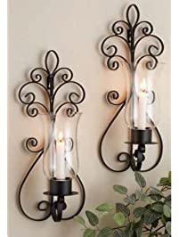 Set Of Two Decorative Brown Metal And Pear Glass Wall Sconce Candle Holde,r  Wall Part 95