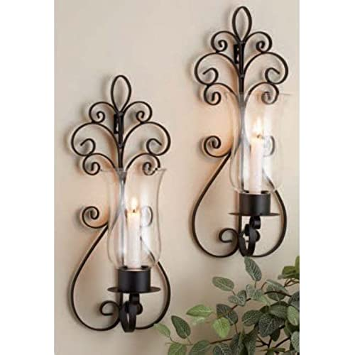 Set Of Two Decorative Brown Metal And Pear Glass Wall Sconce Candle Holde,r  Wall Lighting   Set Of Two Pear Sconces, Perfect For A Living Room Dining  Room ...
