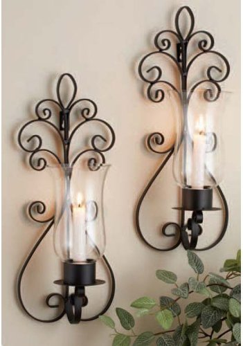 Brown Metal Pear Glass Wall Sconce Candle Holder Lighting Set of Two Decorative eBay