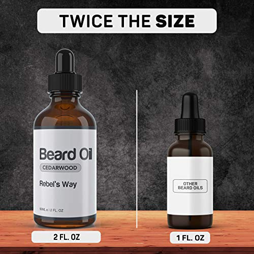 Cedarwood Beard Oil Made in Canada (2oz - 60ml) 100% Natural Beard and Mustache Leave-in Conditioner and Softener for Fuller and Thicker Growth. Best Organic Beard Care Grooming Moisturizer